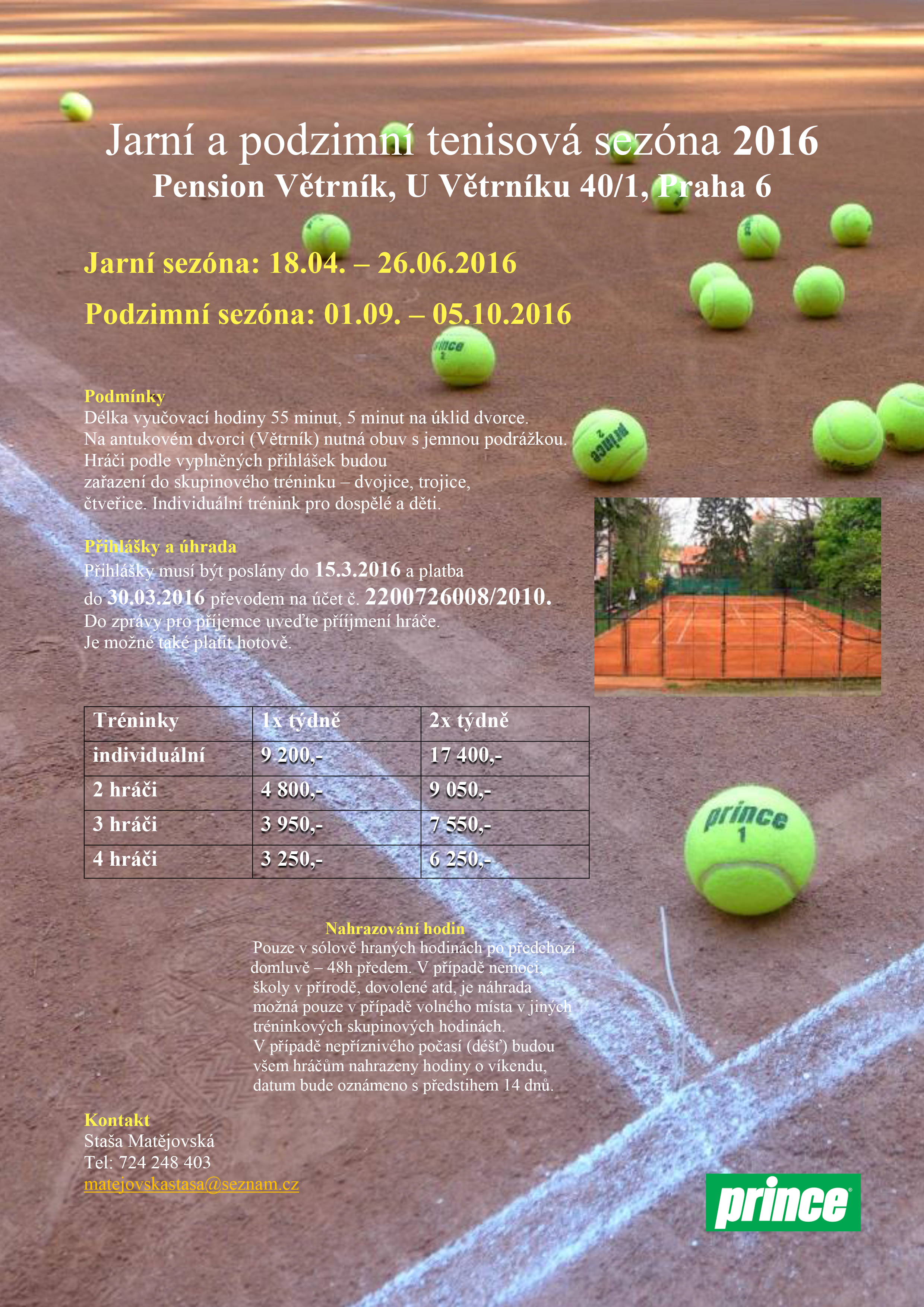 2016 Větrník Jarní a podzimní tenisová sezóna leták